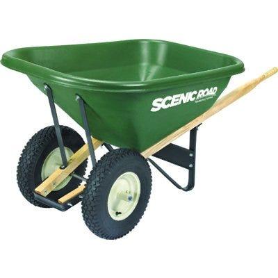 Wheelbarrow, 4-Ply Knobby Tires, Green, 8-Cu.-Ft.