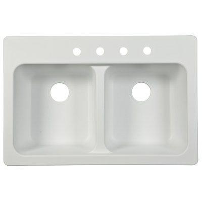 Double-Bowl Kitchen Sink, White, 33 x 22 x 9-In.