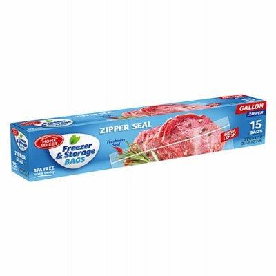 Freezer Bags, Zipper Seal, Gal., 15-Ct.