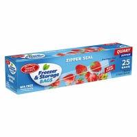 Freezer Bags, Zipper Seal, Qt., 25-Ct.