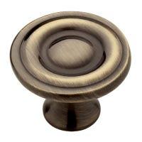 Cabinet Knob, Round Ring, Antique Brass, 1.25-In., 10-Pk.