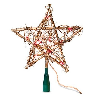 Image of Christmas Tree Top Star, Amber Grapevine, 10-Lights
