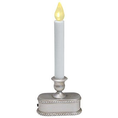 Christmas LED Lighted Candle, Battery-Operated, Brushed Silver, 9-In.