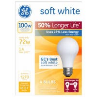 Soft White Halogen Bulb, Long Life, Medium Base, 72-Watts, 4-Pk.