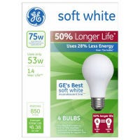Soft White Halogen Bulb, Long Life, Medium Base, 53-Watts, 4-Pk.