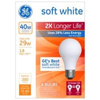Halogen Light Bulbs, Long Life, Soft White, 390 Lumens, 29-Watts, 4-Pk.