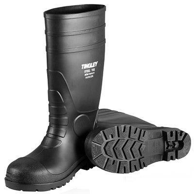 Steel-Toe Boots, Black PVC, 15-In., Men's Size 5, Women's Size 7
