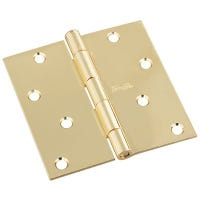 Door Hinge, Interior, Square-Edge, Polished Brass, 4-In.