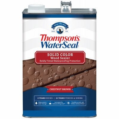 Waterproofing Stain, Solid, Acorn Brown, 1-Gallon