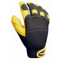 Hybrid Leather Work Gloves, Goatskin, Textured Grip, Men's Medium