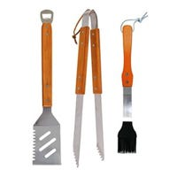 BBQ Tool Set, Wood & Stainless Steel, 3-Pc.
