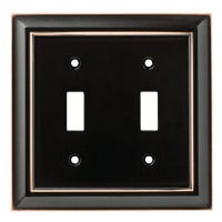 Toggle Wall Plate, 2-Gang, Architectural, Bronze & Copper Zinc