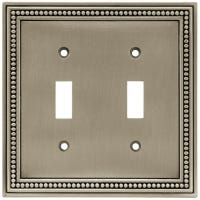 Toggle Wall Plate, 2-Gang, Beaded, Brushed Pewter Zinc