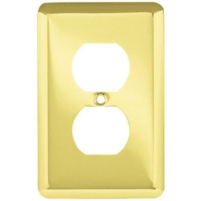 Duplex Wall Plate, 1-Gang, Stamped, Round, Polished Brass Steel