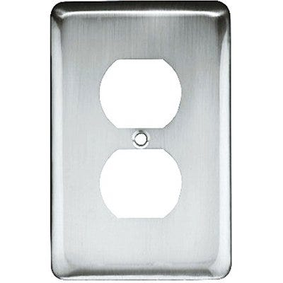 Duplex Wall Plate, 1-Gang, Stamped, Round, Polished Chrome Steel