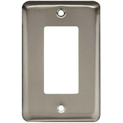 Decorator Rocker/GFI Wall Plate, 1-Gang, Stamped, Round, Satin Nickel Steel