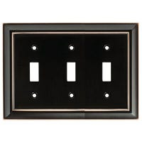 Toggle Wall Plate, 3-Gang, Architectural, Bronze & Copper Zinc