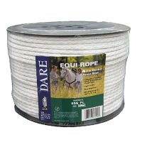 Electric Fence Rope, White, Polyethylene With Stainless Steel Wire, 5/64-In. x 656-Ft.