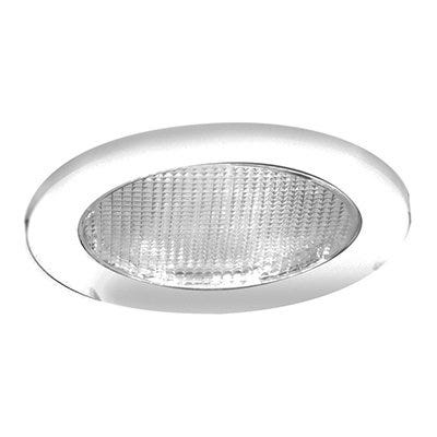 Recessed Shower Trim With Glass Lens, White, 4-In.