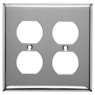 Steel Wall Plate, 2-Gang, 2-Duplex Opening, Chrome