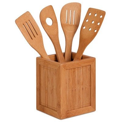 Kitchen Utensils & Caddy, Bamboo, 5-Pc.