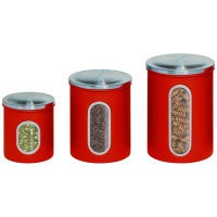 Storage Canisters, Red Metal, 3-Pk.