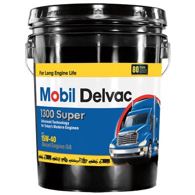 Delvac 1300 1540 Super Diesel Engine Oil, Extra High, 5-Gallons