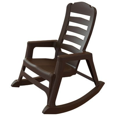 Resin Rocking Chair, Ergonomic, Stackable, Earth Brown