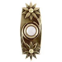 Lighted Door Chime Button, Antique Brass Floral