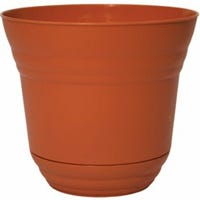 Planter with Attached Saucer, Plastic, Tango Orange, 7-In.
