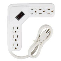 Power Strip, 6-Outlet, White