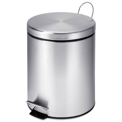 Step Trash Can, Stainless Steel, Round, 1.3-Gal.