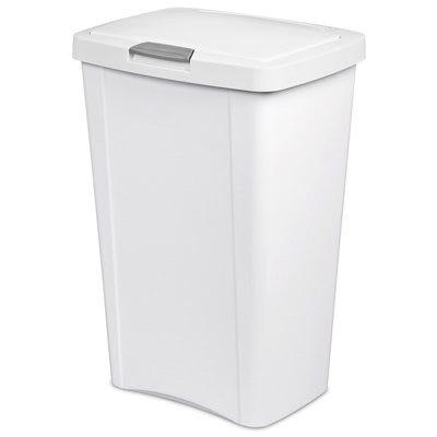 Kitchen Wastebasket, Touch Top, White, 13-Gal.