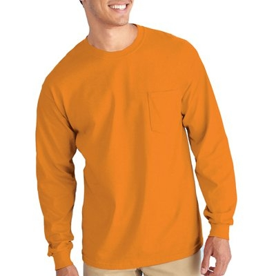 Image of Pocket T-Shirt, Long Sleeve, Safety Orange, Medium