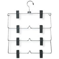 Fold-Up Skirt Hangers, 4-Tier, Chrome With Black Plastic