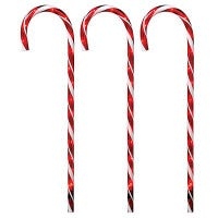 Pathway Candy Cane, Red, Transparent, 27-In., 3-Pc.
