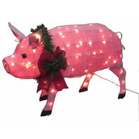 Christmas Decoration, Lighted Burlap Pig, 32 x 18.5-In.