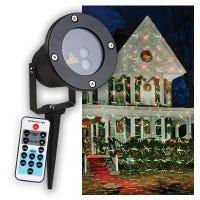 Holiday Star Laser Light Projector, Red & Green Geometric Designs