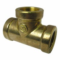 Pipe Fitting, Brass Tee, Lead-Free, 1/2-In. FPT