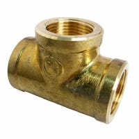 Pipe Fitting, Brass Tee, Lead-Free, 3/4-In. FPT