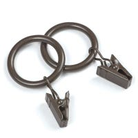 Curtain Ring Clips, Brown, 14-Pk.