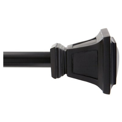 Image of Seville Curtain Rod With Finials, Black, 28 to 48-In.