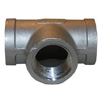 Stainless Steel Female Iron Pipe Tee, 1/2-In.