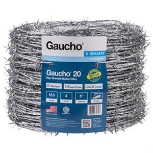Barbed Wire, High-Strength, 15.5G, 4-Point, 1320-Ft.