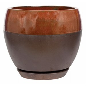 Image of Ceramic Egg Planter With Saucer, Kendall/Copper, 6-In.