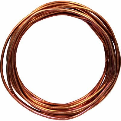 Solid Copper Grounding Wire, #6, 15-Ft.
