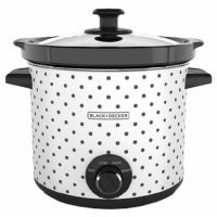 Slow Cooker, White With Dot Case, 4-Qts.