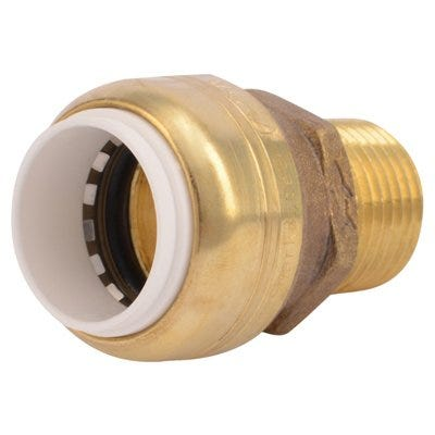 Push Fit Pipe Connector, .5-In. PVC x .5-In. MPT