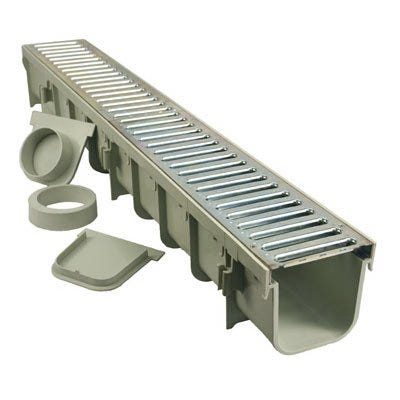 Pro Series Channel Drain Kit, Polyolefin and Steel with Metal Grate, 5 x 39-In.