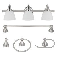 3-Light Vanity Set, Frosted Glass, Brushed Steel